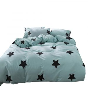 Duvet Cover Set Twin Size Zippered Cotton Teal Blue-Black Stars Design