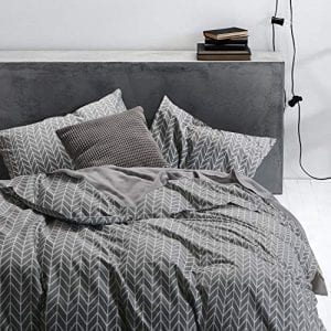 Wake In Cloud - Gray Chevron Duvet Cover Set Cotton King