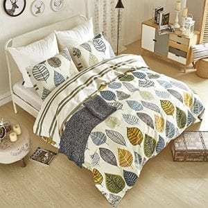 AiMay Duvet Covers 3 pc set Queen/Full Size Leaf Design