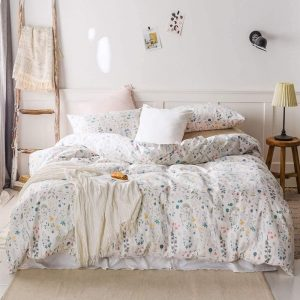 HIGHBUY Duvet Cover Set | White - Botanical Floral Pattern