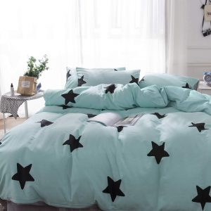 Duvet Cover Set Twin Size Zippered Cotton Teal-Black Stars Design