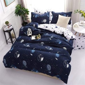 Navy Blue Twin Size Duvet Cover Set Polyester Planet and Stars Pattern