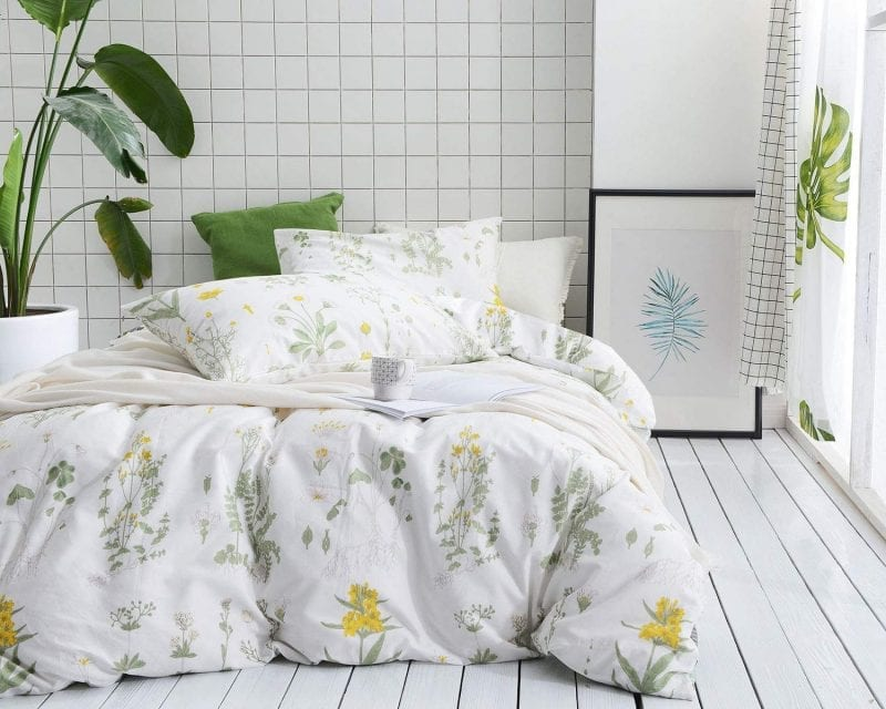 Wake In Cloud Duvet Cover Set | Botanical Print White-Yellow