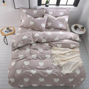 Duvet Cover Set Twin Size Zippered Cotton Taupe-Pink Heart Design