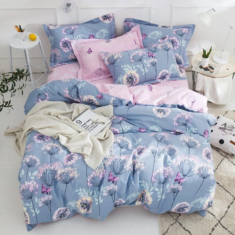 Duvet Cover Set Queen/Full Size Cotton Lilac-Pink Dandelion Reversible