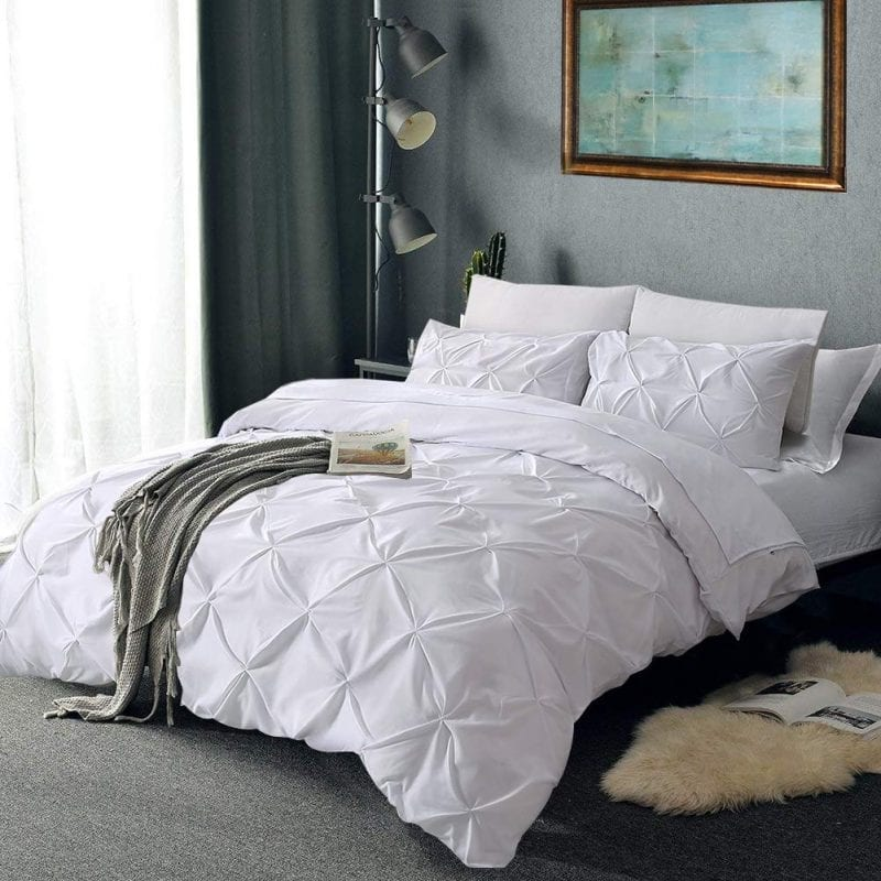 Vailge 3 pc duvet cover queen white microfiber pinch pleated