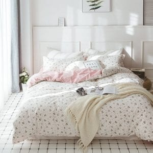 HIGHBUY Duvet Cover Set | Reversible Pink-White Floral Pattern