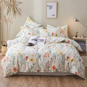 HIGHBUY Duvet Cover Set | Garden Flowers - White Background