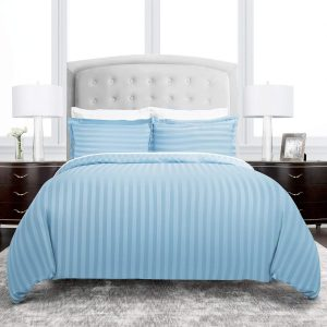 Duvet Cover Set Queen/Full Size Blue Striped Double Brushed Microfiber