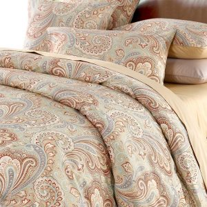 Duvet Cover Set Queen Size Khaki-Red Paisley Cotton Reversible