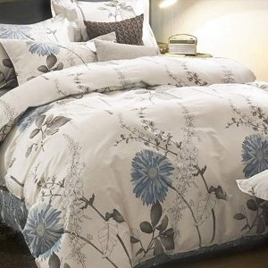 Blue and Cream Full Size Duvet Cover Set Cotton Floral Pattern