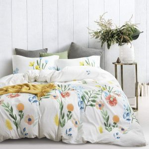 Wake In Cloud Duvet Cover Set | Watercolor Flowers on White