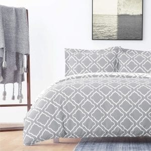"Bedsure Duvet Covers 3 pc set Queen/Full Size Grey Reversible 90""x 90"""