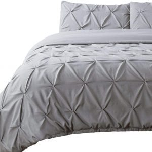 Bedsure Microfiber Duvet Covers Queen/Full Size Grey Pintuck Pleat