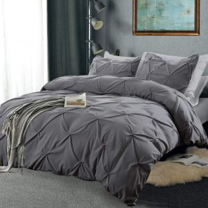 A Vailge Duvet Cover Set | Premium Microfiber Grey Pleat Pintuck