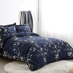 Bedsure Duvet Covers Queen/Full Size Spring Bloom Navy