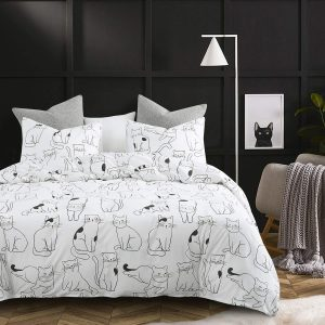 Full Size Duvet Cover Set Cotton Black Cats printed on White Pattern