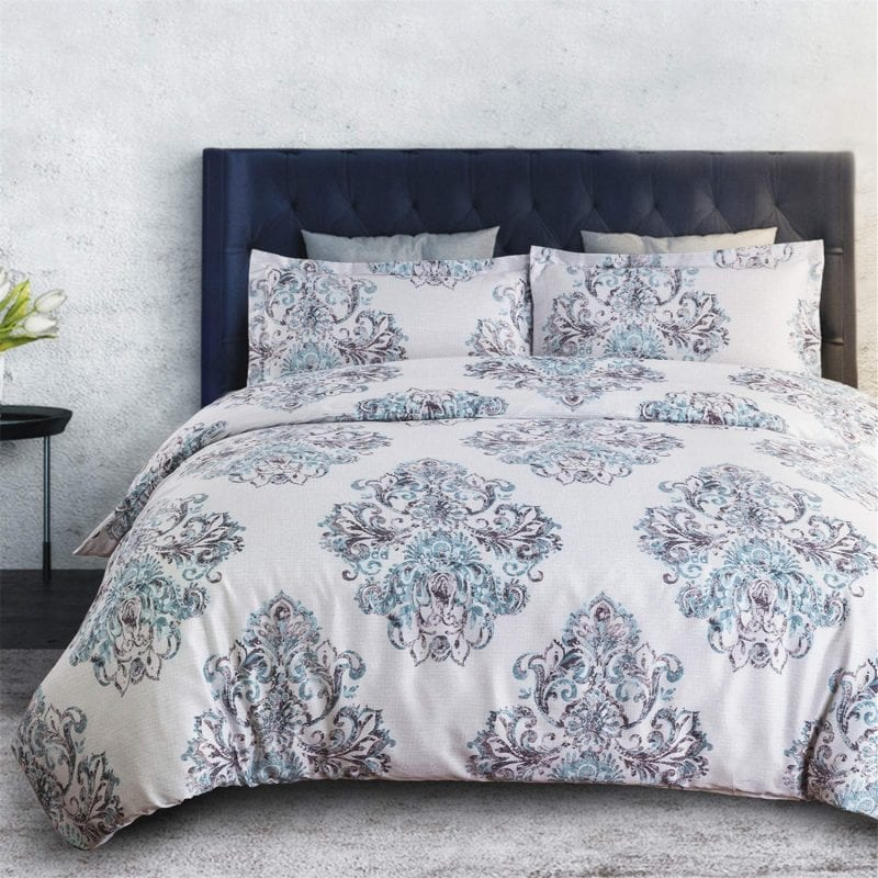 "Bedsure DBedsure Duvet Covers 3 pc set Queen/Full Size Gray Damask is one of our favorite products here at TopDuvetCovers.com.  We love the style and comfort that is easy to take care of and we're eager to offer products like this.  Shop today and enjoy some of the following features: UNIQUE FEATURES: The Bedsure Duvet Covers 3 pc set Queen/Full Size Gray Damask features fanciful and exotic floral scrolled medallion motifs arranged in an elaborate shape - Printed floral damask patterns bring you antique European glamour associated in 14th century - Ancient charming damask derived the name from the city of Damascus as part of Silk Road to elevate your space to a higher level. DUVET COVER SET: The Bedsure Duvet Covers 3 pc set Queen/Full Size Grey Damask includes 1 queen duvet cover (90""x 90"") with zipper closure and corner ties, along with 2 envelope pillow shams (20""x 26"") The 50"" long zipper on the Bedsure Duvet Covers 3 pc set Queen/Full Size Grey Damask is easy to zip or unzip and durable ties in each corner keep your duvet insert from sliding around. PREMIUM MATERIAL: Made from 100% microfiber, the Bedsure Duvet Covers 3 pc set Queen/Full Size Grey Damask is double brushed on both sides of the duvet cover making it feel incredibly soft.  The printed Bedsure Duvet Covers 3 pc set Queen/Full Size Grey Damask cover features long-lasting performance with fading and shrinking resistance. Pet hair won't cling to your cover. EASY TO CARE:   The Bedsure Duvet Covers 3 pc set Queen/Full Size Grey Damask Reversible is lightweight and washes easily so it won't become stiff after frequent washing - Machine wash in cold water, tumble dry on low for a wrinkle-free comforter - No more expensive trips to the dry cleanerBedsure Duvet Covers 3 pc set Queen/Full Size Grey Damask"