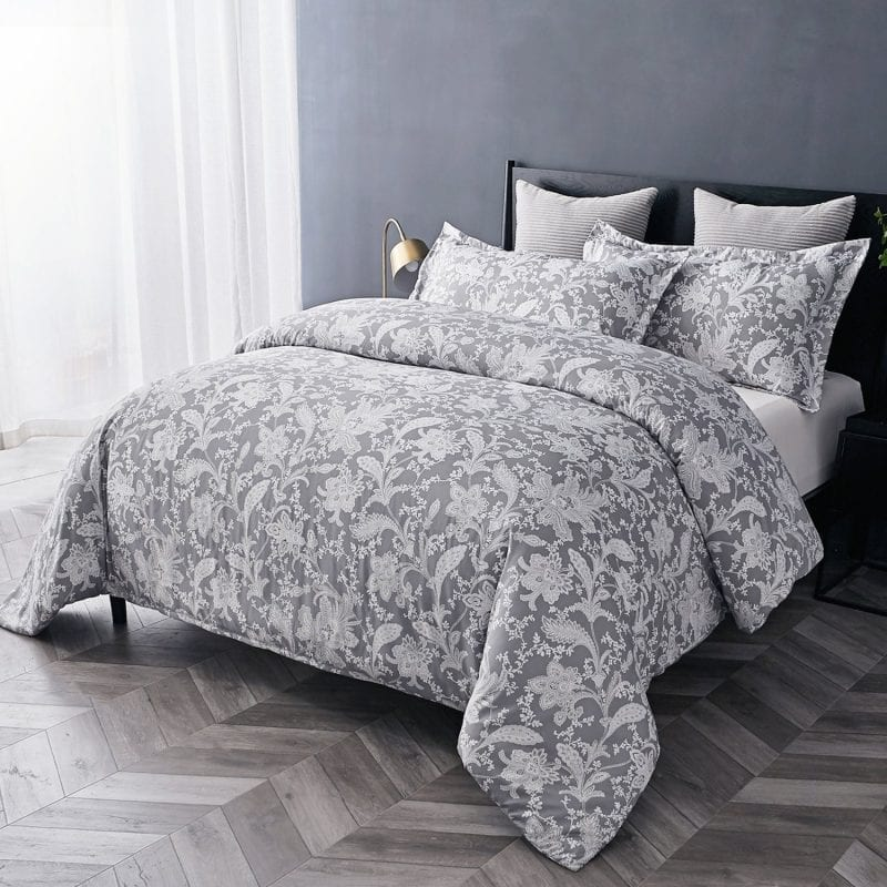 Bedsure Duvet Covers 3 pc set Queen/Full Size Printed Floral Grey