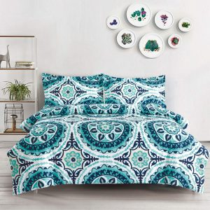 Teal Queen Size Duvet Cover Set Microfiber Mandala Medallion Pattern