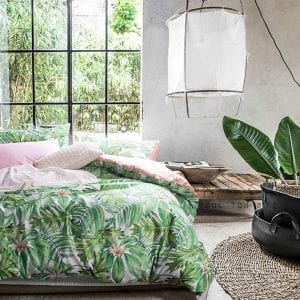 Wake In Cloud - Botanical Duvet Cover Set, Sateen Cotton Bedding, Tropical Green Plant Tree Leaves Pattern Printed, Pink on Reverse, Zipper Closure (3pcs, King Size)