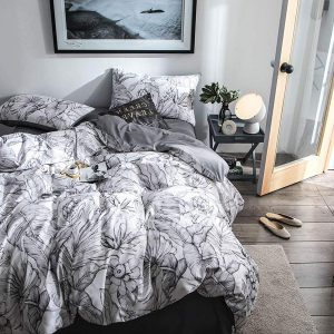Duvet Cover Set Queen Size Sateen Cotton White-Gray Tropical Floral