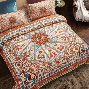 Orange California King Size Duvet Cover Set Microfiber Mandala Print