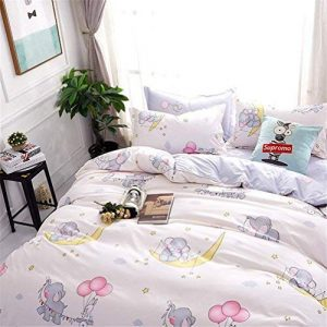 White and Pink Twin Size Duvet Cover Set Polyester Elephants Pattern