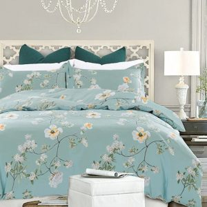 Teal-Yellow King Size Duvet Cover Set Microfiber Floral Pattern