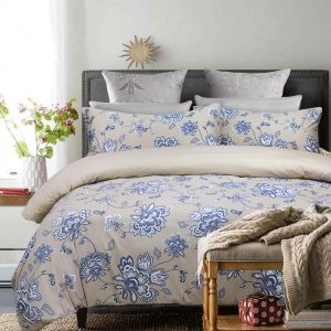 Duvet Cover Set Queen Size Blue-Grey Shabby Floral Cotton Reversible
