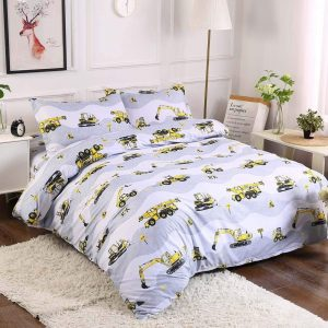 Yellow on White Twin Size Duvet Cover Set Polyester Tractors Pattern