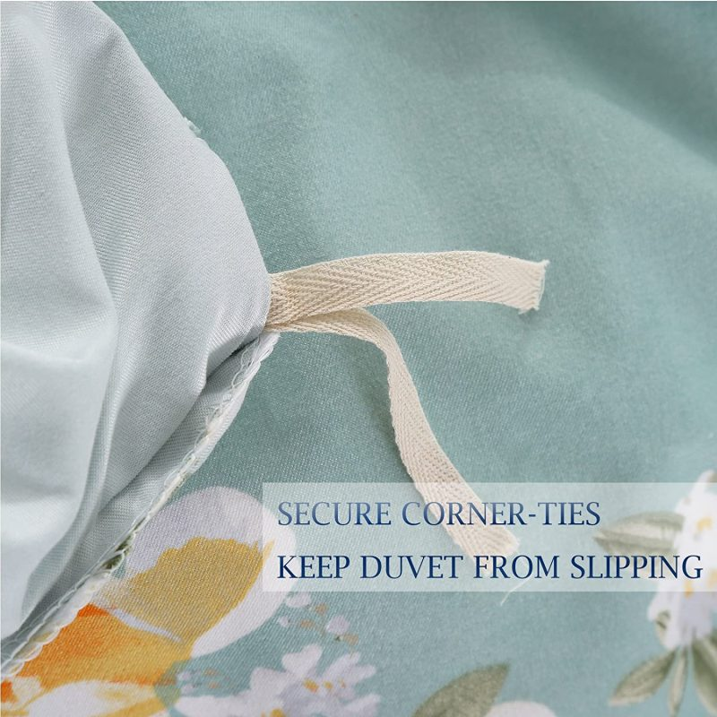 Teal-Yellow Queen Size Duvet Cover Set Microfiber Floral Pattern