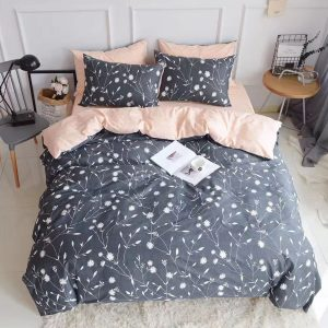 HIGHBUY Duvet Cover Set | Reversible Grey Floral and Peachy Pink
